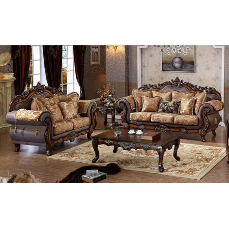 Comfortable formal Living Room Lovely Luxurious Traditional Style 2pcs sofa Set formal Living Room Cherry Finish sofa Loveseat Pillows