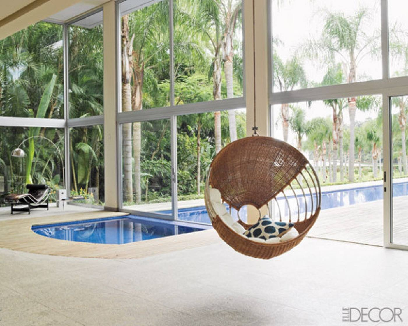Comfortable Living Room Amazing Luxury fortable Living Space with Indoor Pool Big Glass Door and Outdoor Pool with Natural View