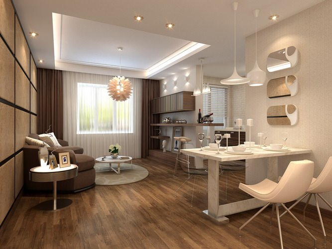 Comfortable Living Room Dining Room Fresh fortable Dining and Living Room with Wooden Flood and Mode 3d Model Max