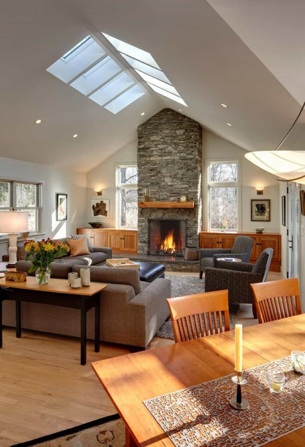 Comfortable Living Room Fireplace Best Of fortable Living Room Designed with Stone Fireplace and Skylights Also Recessed Lights