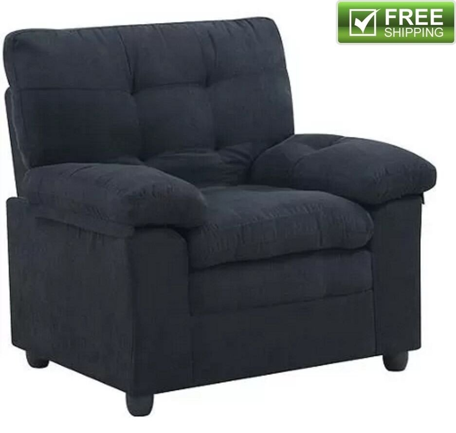 Comfortable Living Room Furniture Luxury Microfiber Armchair Black fortable soft Padded Living Room Chair Furniture