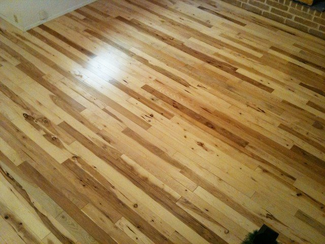 Comfortable Living Room Hickory Floor Elegant Natural Hickory Floor W Pillowed Edge Traditional Living Room Albuquerque by the