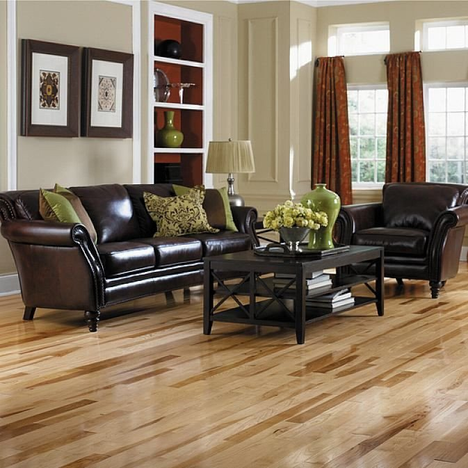 Comfortable Living Room Hickory Floor Elegant Natural Hickory Wood Flooring In the Living Room Design Ideas Pinterest
