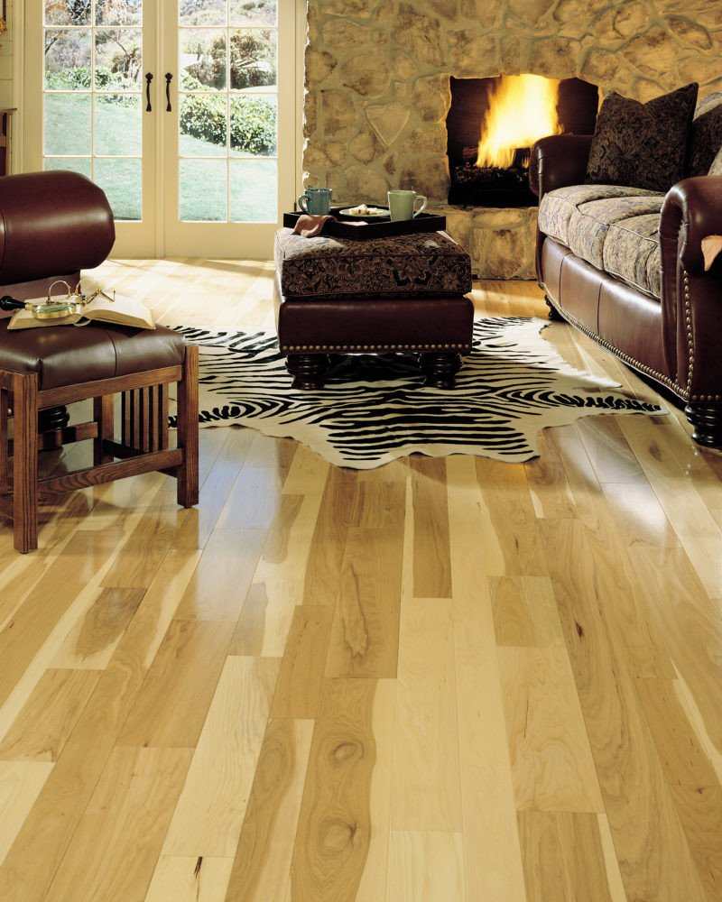 "Comfortable Living Room Hickory Floor Inspirational 3 4"" X 5"" somerset Prefinished Natural Hickory Flooring"