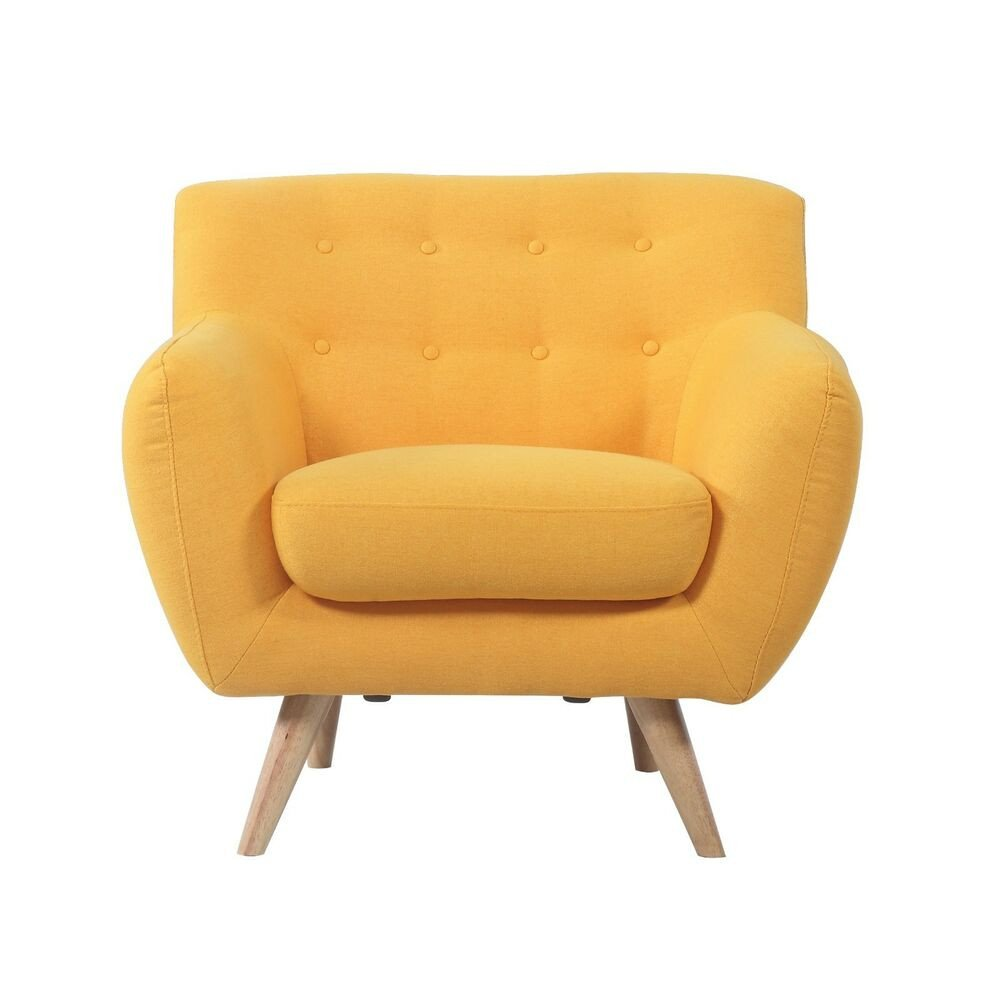 Comfortable Living Room Mid Century Beautiful Mid Century Modern fortable Tufted button Living Room Accent Yellow Chair