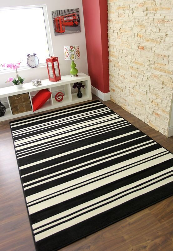 Comfortable Living Room Rugs Best Of Black Ivory F White Striped Modern Milan fortable Living Room area Rug Uk