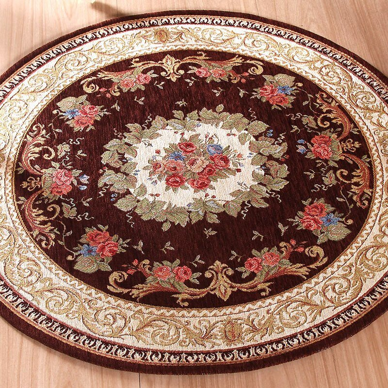 Comfortable Living Room Rugs Lovely Round Jacquard Carpet Water Absorption Floor Rug solid fortable Mat for Bedroom Parlor Living