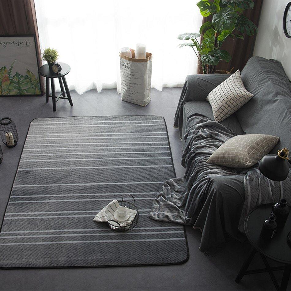Comfortable Living Room Rugs New Room Rug Striped Carpets for Living Room Modern Floor Mats Carpet soft and fortable Velvet