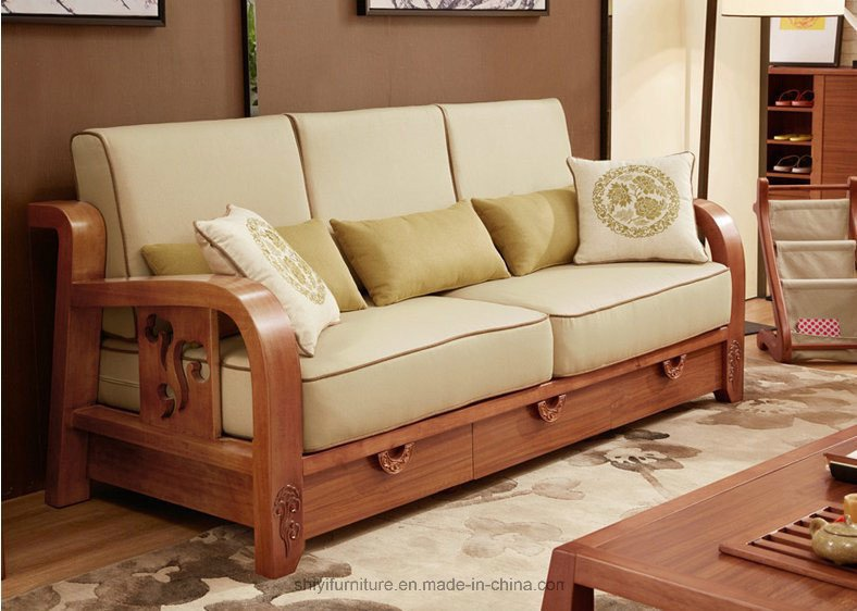 Comfortable Living Roomfurniture New China fortable Living Room Home Furniture solid Wooden sofa Sets with Sponge China Living