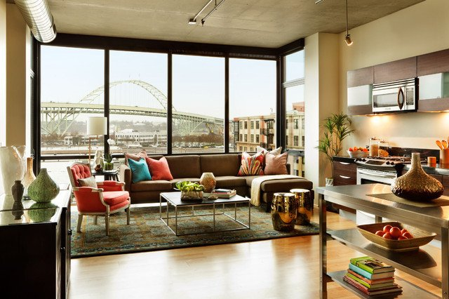 Contemporary Apartment Living Room Luxury Urban Apartment Living Room Contemporary Living Room Portland by Garrison Hullinger