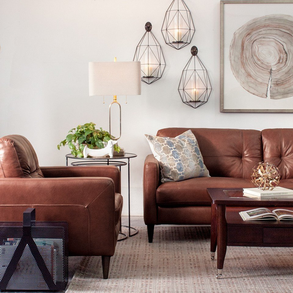 Contemporary Brown Living Room Elegant Decorating with Brown Leather Furniture Tips for A Lighter Brighter Look Schneiderman S
