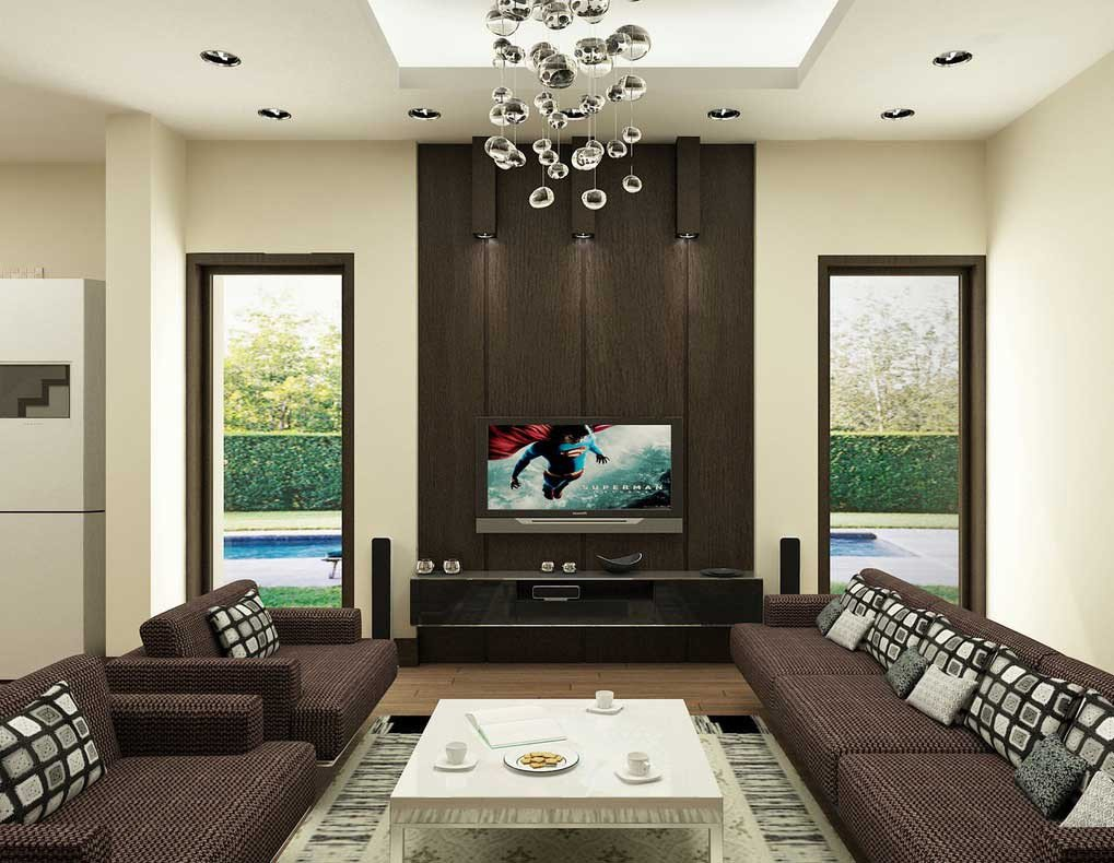 Contemporary Brown Living Room New Brown Living Room with Modern Ceiling Lamps Interior Design Ideas