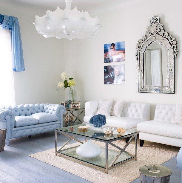 Contemporary Chic Living Room Elegant Amazing Light Blue and White Living Room