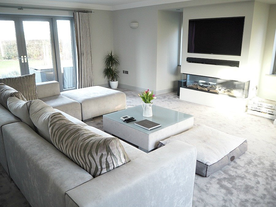 Contemporary Grey Living Room Awesome A New Modern Grey Living Room with Contemporary Fireplace