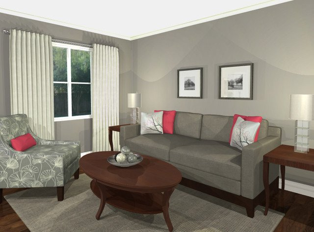 Contemporary Grey Living Room New Virtual Design Living Room Grey Pink Contemporary Living Room toronto by Room Revival