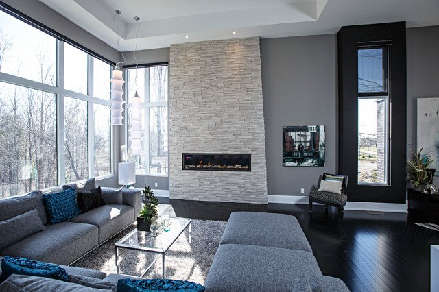 Contemporary Grey Living Room Unique Contemporary Living Room In Grey tones Contemporary Living Room Ottawa by Realstone Systems
