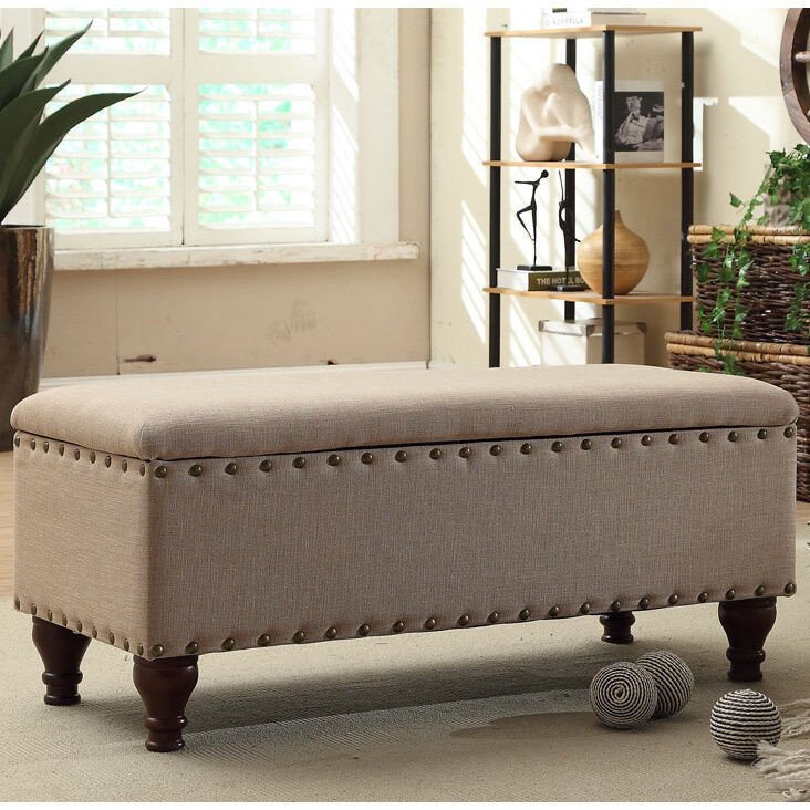 Contemporary Living Room Benches Awesome Nailhead Upholstered Storage Bench Living Room Furniture Seat Ottoman Modern New