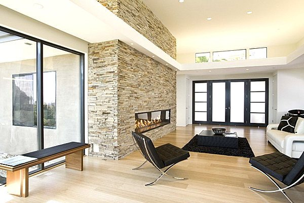Contemporary Living Room Fireplace Awesome Stone Fireplaces Add Warmth and Style to the Modern Home