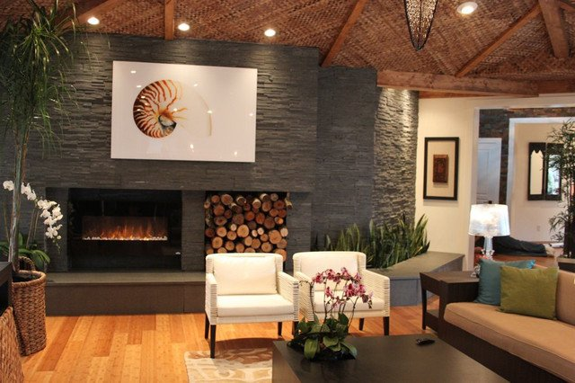 Contemporary Living Room Fireplace Beautiful Contemporary Natural Stone Fireplace Modern Living Room Detroit by Realstone Systems