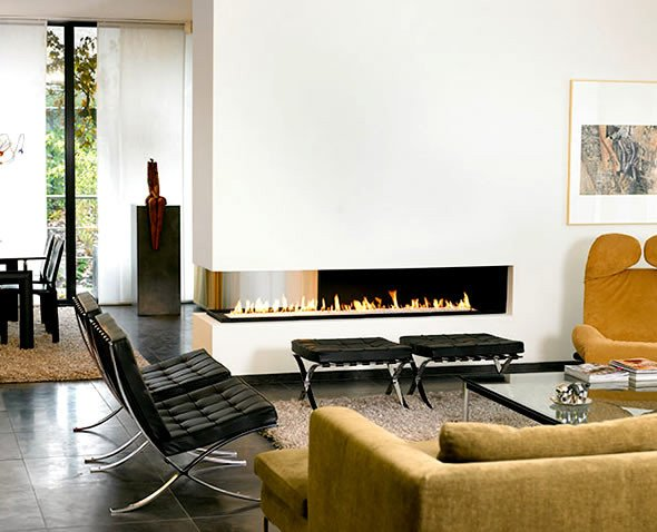 Contemporary Living Room Fireplace Beautiful Interior Design with Modern Contemporary Two Sided Fireplace