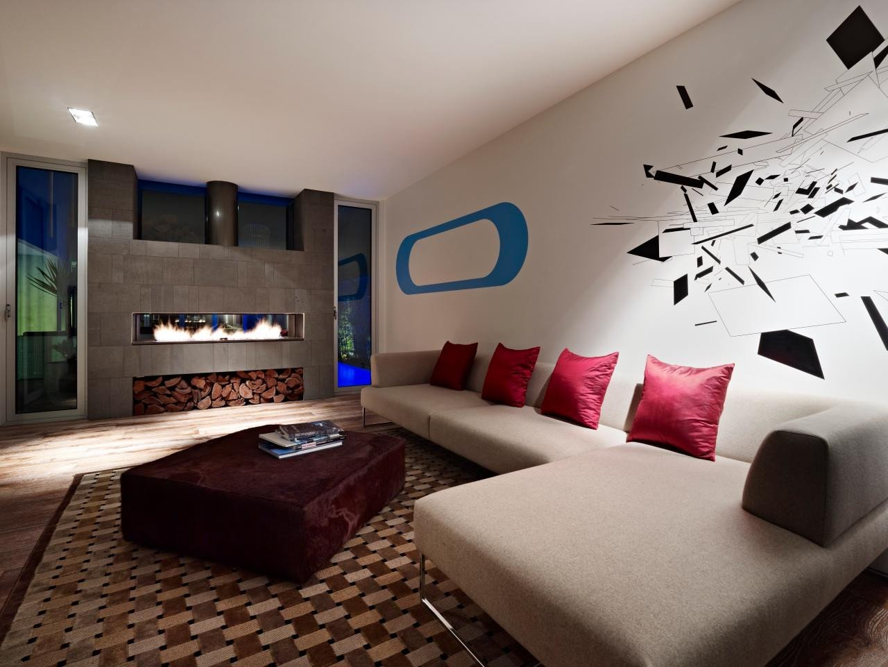 Contemporary Living Room Fireplace Lovely Funky Contemporary Living Room with Fireplace