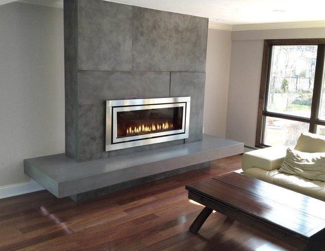 Contemporary Living Room Fireplace Unique Gas Fireplace Surround Contemporary Living Room New York by Trueform Concrete
