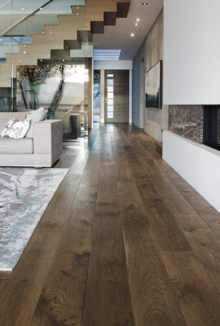 "Contemporary Living Room Flooring Elegant 8"" Greycastle Colour Estate Plank Collection White Oak Hardwood Flooring Modern Living"