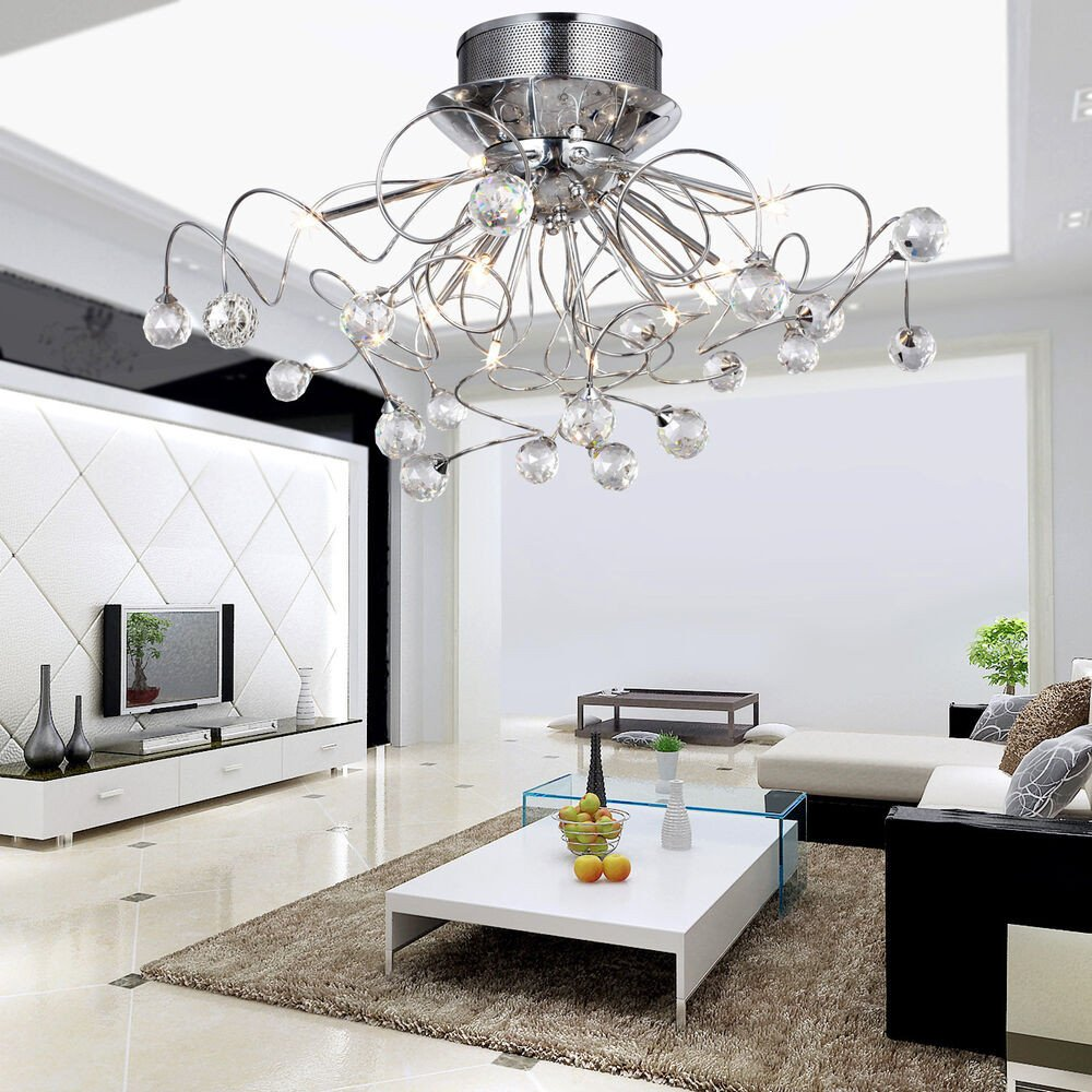 Contemporary Living Room Lights Beautiful Modern Flush Mount Lights Dining Room Bedroom Crystal Ceiling Chandelier Lamps