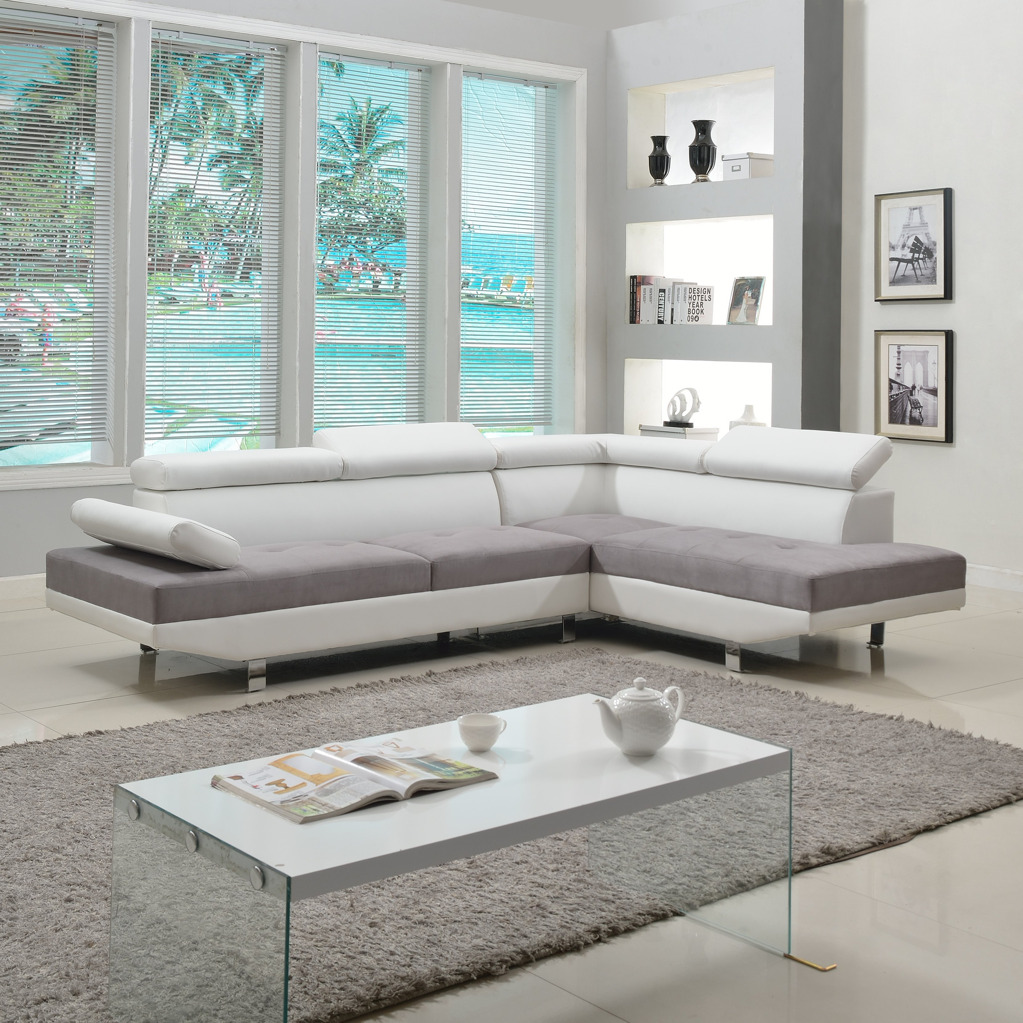 Contemporary Living Room sofas Awesome 2 Piece Modern Contemporary White Faux Leather Sectional sofa Living Room Set