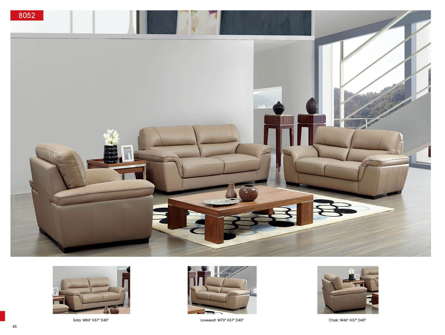 Contemporary Living Room sofas Fresh 8052 Leather sofa Esf Neo Furniture