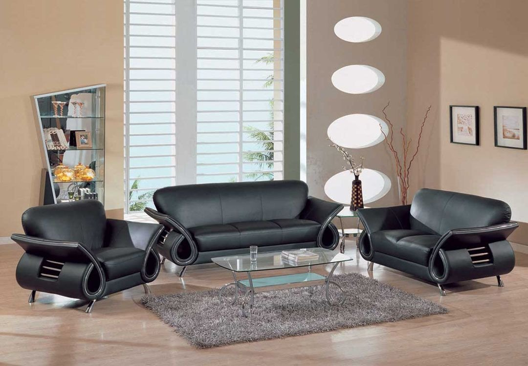Contemporary Living Room sofas Fresh Contemporary Dual Colored or Black Leather sofa Set W Chrome Details Dallas Texas Gf559