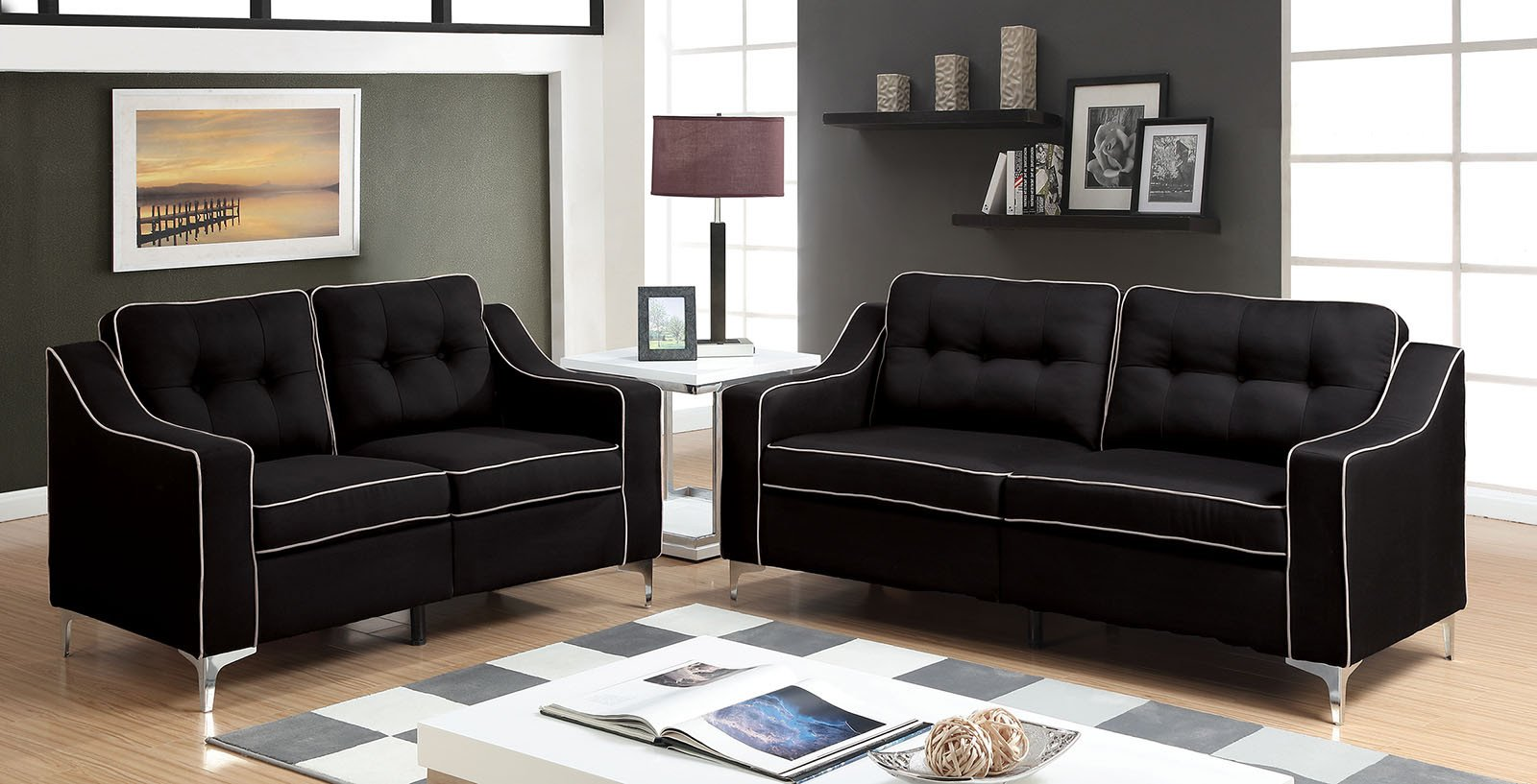 Contemporary Living Room sofas Fresh Glenda Contemporary Style Black Fabric sofa & Loveseat Living Room Set