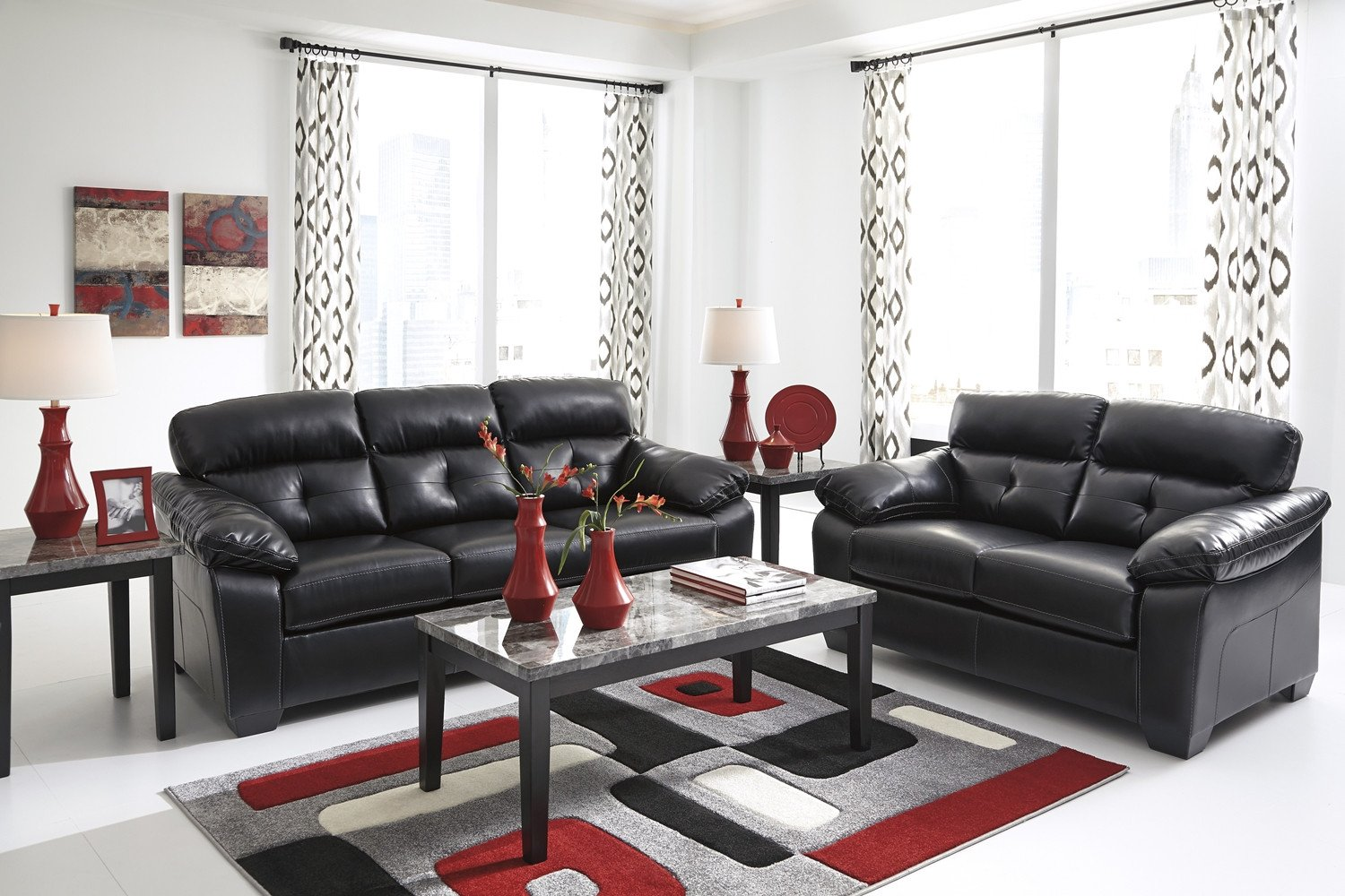 Contemporary Living Room sofas Unique Midnight Black Casual Contemporary Living Room Furniture Set by ashley