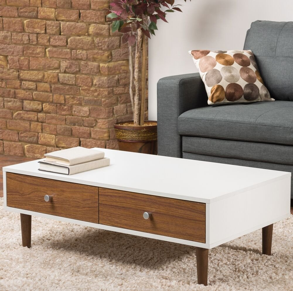 Contemporary Living Room Tables Luxury White Coffee Table Storage Drawer Modern Wood Furniture Living Room Accent Stand