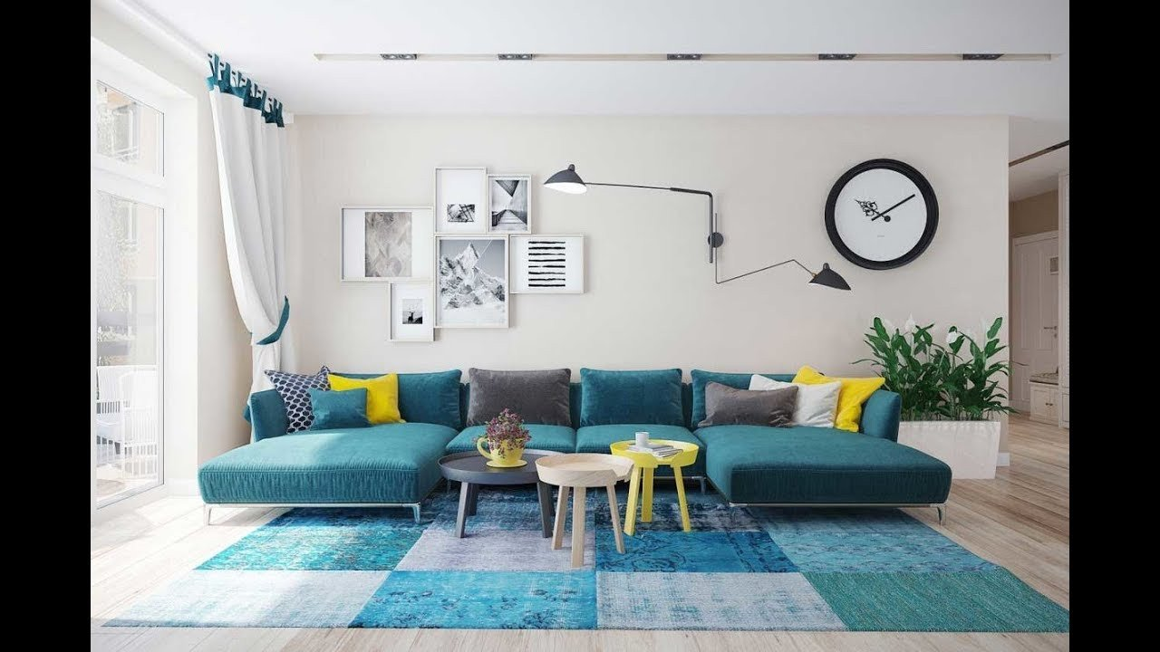 Contemporary Living Room Turquoise Awesome Turquoise sofa A Bright Element In the Interior Of the Living Room