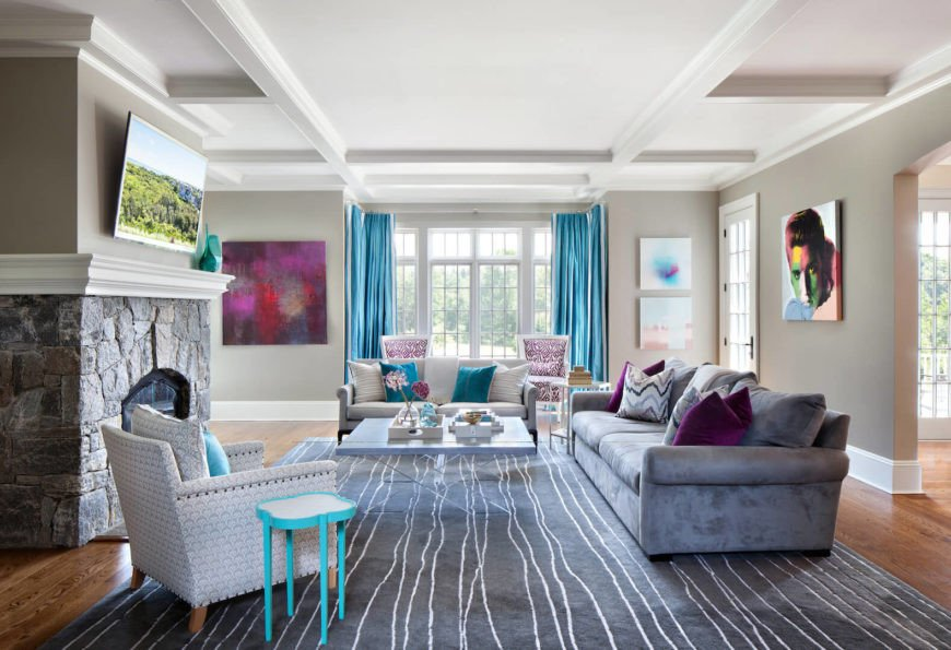 Contemporary Living Room Turquoise Beautiful Elegant and Contemporary Home In Bold Color by Clean Design