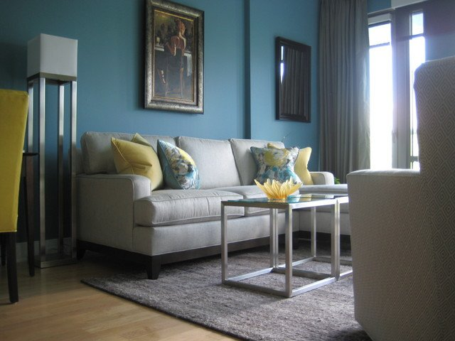 Contemporary Living Room Turquoise Elegant Turquoise and Yellow Living Room