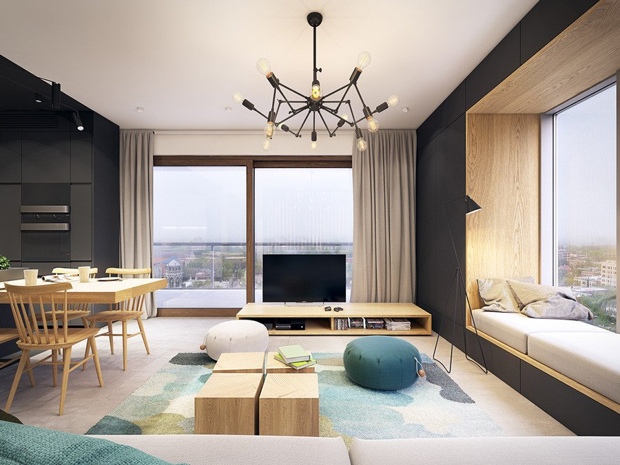 Contemporary Living Room Turquoise Fresh Black White and Wood Apartment with Turquoise touch D Signers