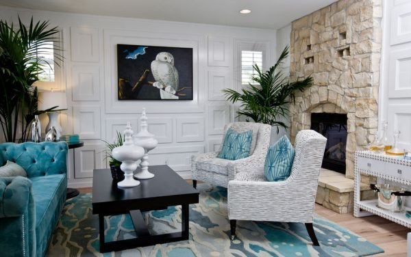 Contemporary Living Room Turquoise Inspirational Decorating with Turquoise Colors Of Nature & Aqua Exoticness