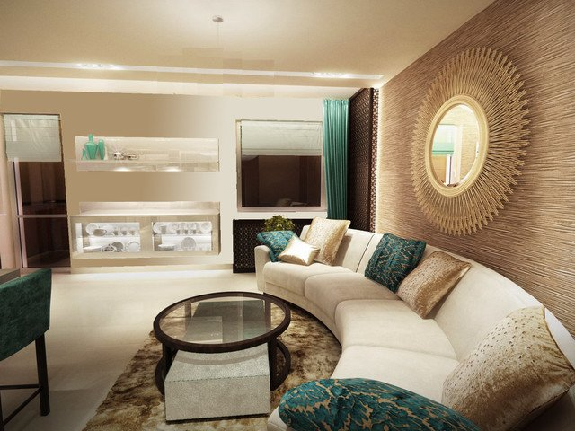 Contemporary Living Room Turquoise Luxury Turquoise