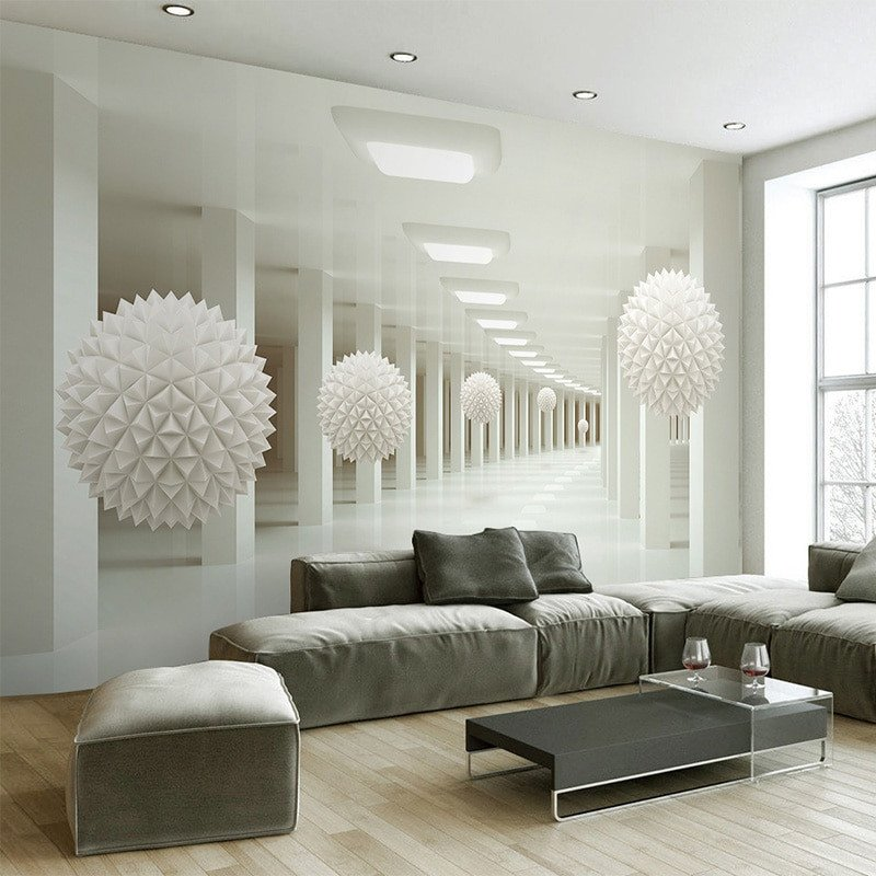 Contemporary Living Room Wallpaper Beautiful Modern Simple 3d Stereo Abstract Space White Sphere Mural Wallpaper Fice Living Room Tv sofa