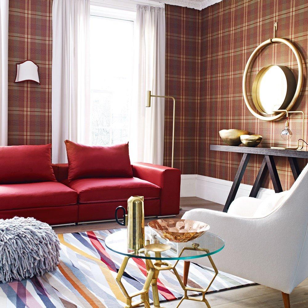 Contemporary Living Room Wallpaper Beautiful Tartan Decorating Ideas
