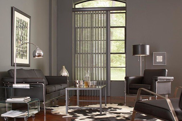Contemporary Living Room Window Treatments Beautiful Gray Vertical Blinds Lafayette Interior Fashions Modern Living Room Ideas Modern Living