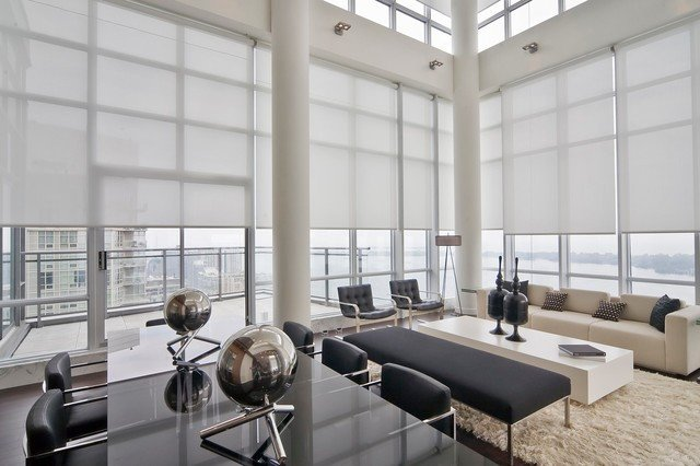 Contemporary Living Room Window Treatments Fresh Sunscreens Modern Living Room orange County by solar Shading Systems