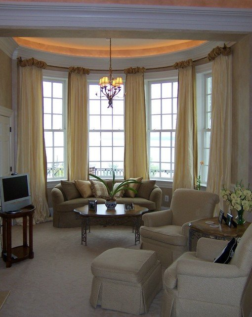 Contemporary Living Room Window Treatments Lovely Ballgown Drapery On Bow Window Contemporary Living Room Dc Metro by Masterworks Window