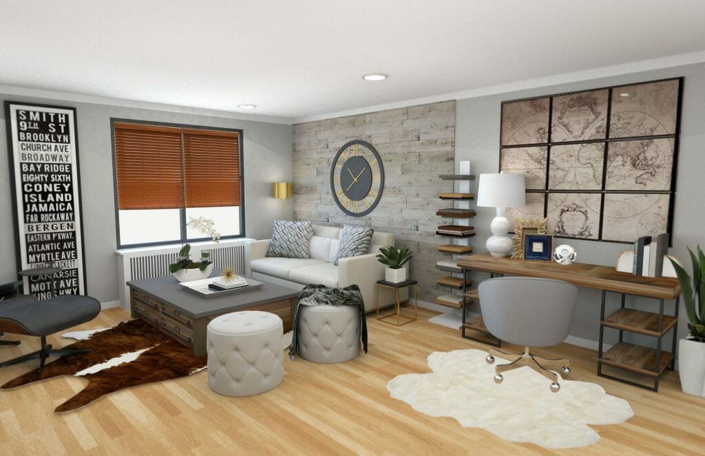 Contemporary Rustic Living Room Awesome before & after Modern Rustic Living Room Design Line Decorilla