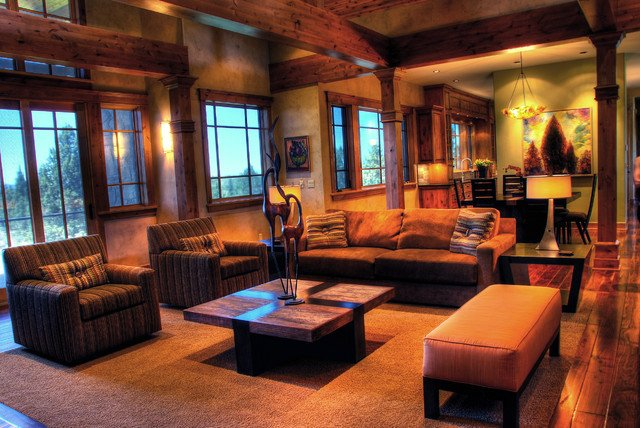 Contemporary Rustic Living Room Inspirational Rustic Modern Mountain Retreat Contemporary Living Room Portland by Cherie Myrick Interiors