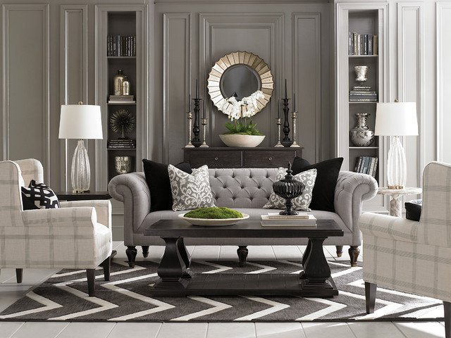 Contemporary Small Living Room Ideas Luxury Chesterfield Living Room by Bassett Furniture Contemporary Living Room by Bassett Furniture