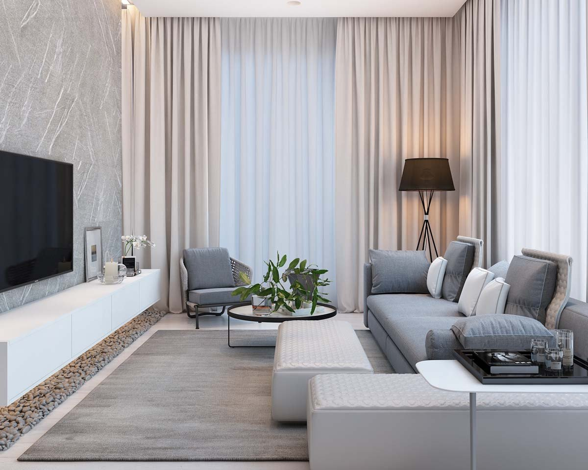 Contemporary Style Living Room Beautiful Simple Modern Apartment with Pastel Colors Looks so Cozy Roohome