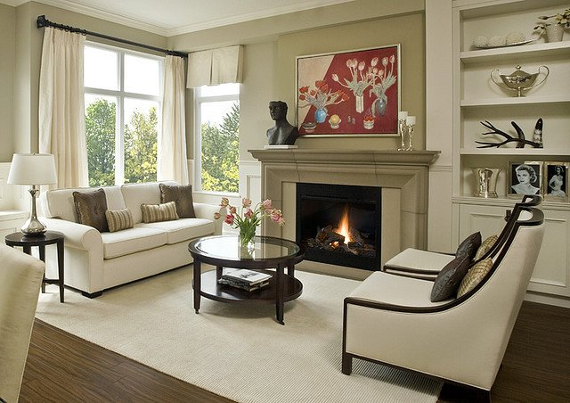 Contemporary Traditional Living Room Elegant Fireplace Mantels and Surrounds